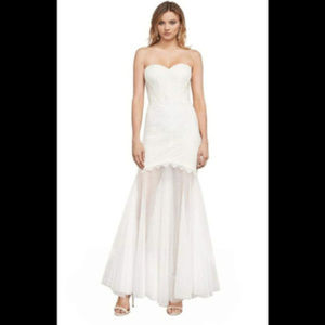 NWT bcbg Off-White Alyce Strapless Lace Gown 10